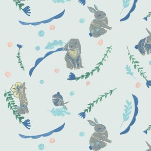 Folk Bunny Spots {large} mint