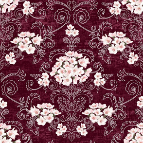 Cherry Blossom Damask (burgundy)