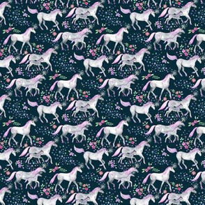 Extra Tiny Unicorns and Stars on Dark with Pink and Purple