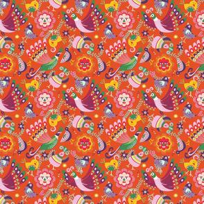 scandinavian folkart birdies | orange | small
