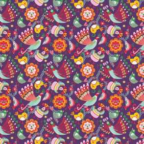 scandinavian folkart birdies | purple | small