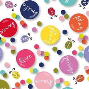 Happy Vibe Badges confetti