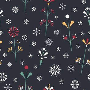Colorful Folklore Florals on dark.