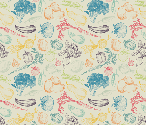 Vintage Veggies - large fabric by diseminger on Spoonflower - custom fabric