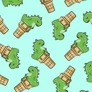 cute dinos - trex ice cream cones - toss on light aqua - LAD19