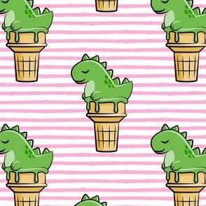 cute dinos - trex ice cream cones - pink stripes - LAD19
