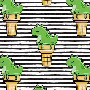 cute dinos - trex ice cream cones - black stripes - LAD19