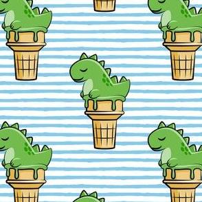 cute dinos - trex ice cream cones - blue stripes - LAD19