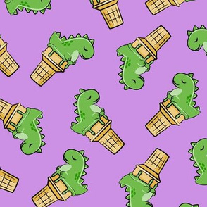 cute dinos - trex ice cream cones - toss on purple - LAD19