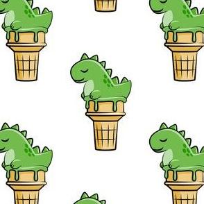 cute dinos - trex ice cream cones - white - LAD19