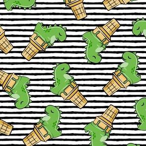 cute dinos - trex ice cream cones - toss on black stripes - LAD19