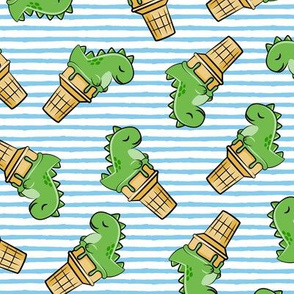 cute dinos - trex ice cream cones - toss on blue stripes - LAD19