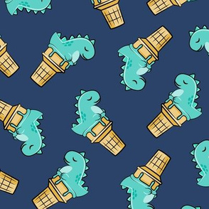 cute dinos - trex ice cream cones - toss on dark blue - LAD19