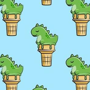 cute dinos - trex ice cream cones - blue - LAD19