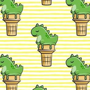 cute dinos - trex ice cream cones - yellow stripes - LAD19