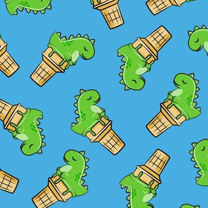 cute dinos - trex ice cream cones - toss on blue - LAD19