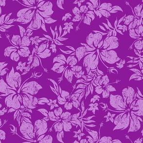 Distressed Hawaiian Hibiscus Floral-Violet