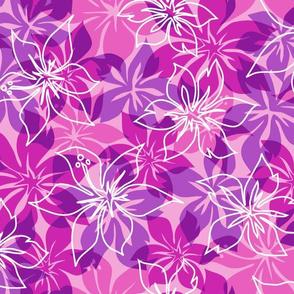 Modern Hawaiian Floral Camo- Violet