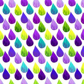 raindrops on white /  blue , green,  violet