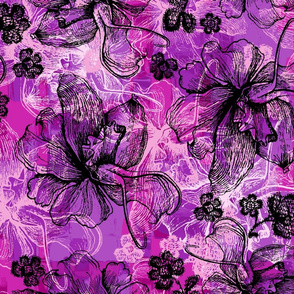 Orchid and Lace Hawaiian Floral - Violet