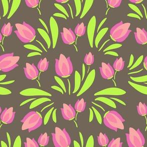 tulips on dark