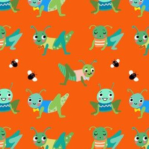 Grasshoppers on orange