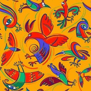 Fantastic birds on yellow