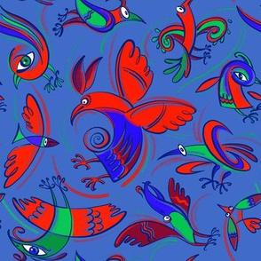 Fantastic birds on blue