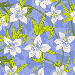 Hawaiian Asian Lily Floral - Periwinkle