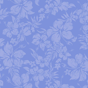 Distressed Hawaiian Hibiscus Floral- Periwinkle