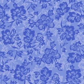 Vintage Polynesian Floral- Periwinkle