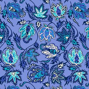 Tropical Protea Floral - Periwinkle