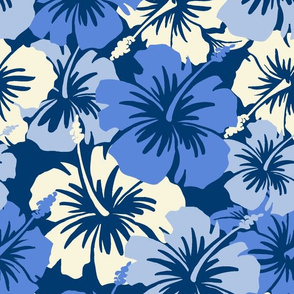 Oversized Hawaiian Hibiscus Floral- Navy Blue
