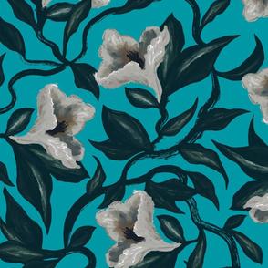 Moody Floral Vine Flowers | Turquoise - JUMBO size