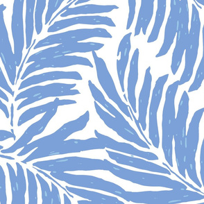 Giant Illustrated Palm Leaves - Cornflower Blue