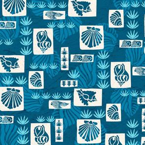Hawaiian Undersea Shells Tapa Print- Indigo