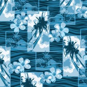 Hawaiian Plumeria and Palm Tree -Indigo Blues
