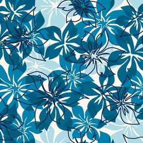 Modern Hawaiian Floral Camo- Indigo Blues
