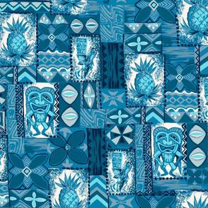 Hawaiian Pineapple Tiki Tapa - Indigo Blues