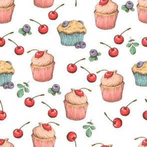 Cherry Cupcakes And Blueberry Muffins