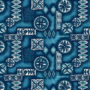 Hawaiian Primitive Tapa Print- Indigo Blues