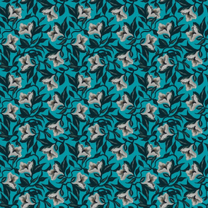 Moody Floral Vine Flowers | Turquoise - Small