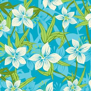 Hawaiian Asian Lily Floral - Teal