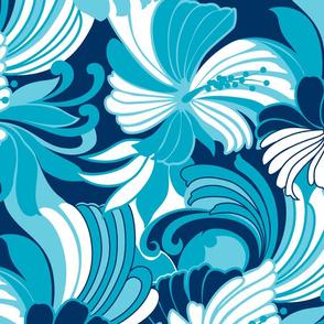 Retro Hawaiian Hibiscus Muu Muu Print- Teals