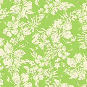 Distressed Hawaiian Hibiscus Floral- Lime Green