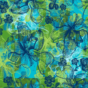 Orchid and Lace Hawaiian Floral - Teal