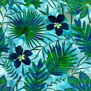 Hawaiian Tropical Floral Watercolor - Teal