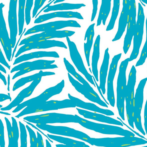 Giant Illustrated Palm Leaves - Teal