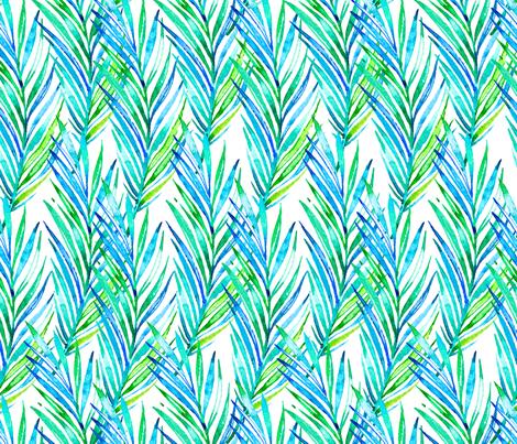 Watercolor Hawaiian Palms - Cool Blues and Greens fabric by hawaiiana_by_driveindustries on Spoonflower - custom fabric
