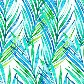 Watercolor Hawaiian Palms - Cool Blues and Greens